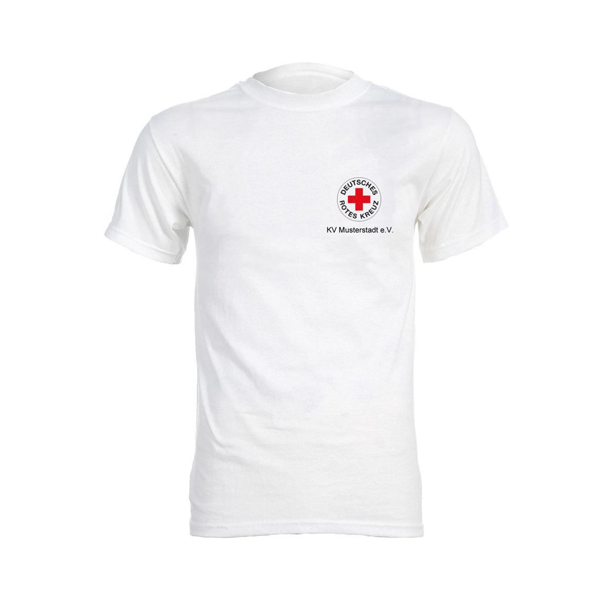 T-Shirt weiß, Druck Rundlogo + Zusatzzeile vorn ...